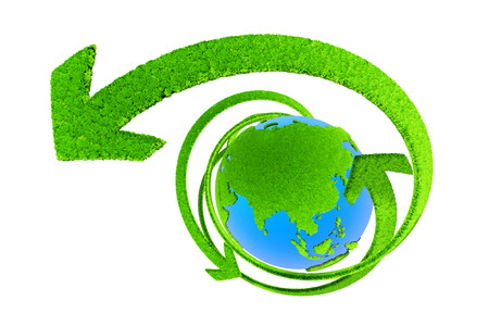 Winding green arrow and earth