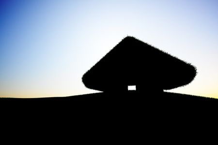 A silhouette of a small house Standard-Bild