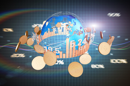 Global finance global stock market data and gold coins