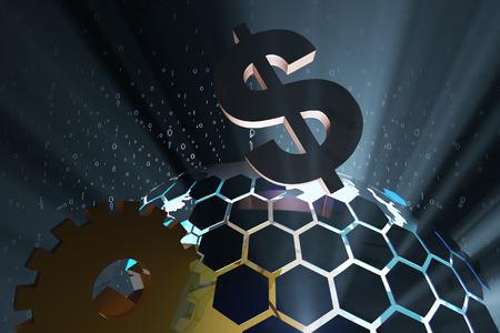 Wissenschaft und Technologie Erde und Währungssymbol