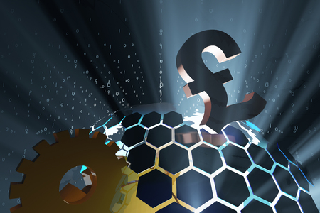 currency symbol: Science and technology earth and currency symbol Stock Photo