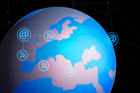 Digital technology, earth, science and technology, global communication