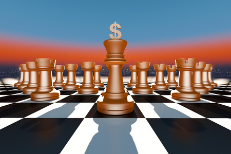 battle plan: Chess and a currency symbol Stock Photo