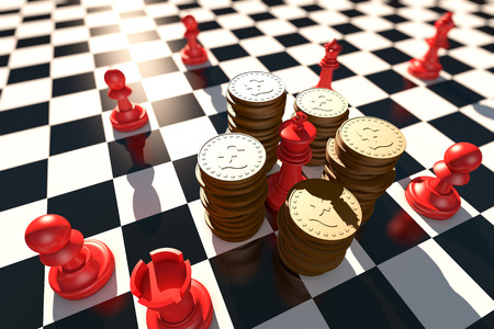 battle plan: A chess piece surrounded by a gold coin. Stock Photo