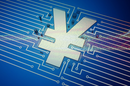 currency symbol: Electronic technology and circuit board, currency symbol
