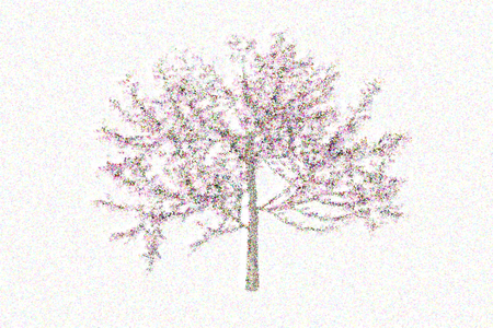 pointillism: illustrated style of plants, flowers and trees