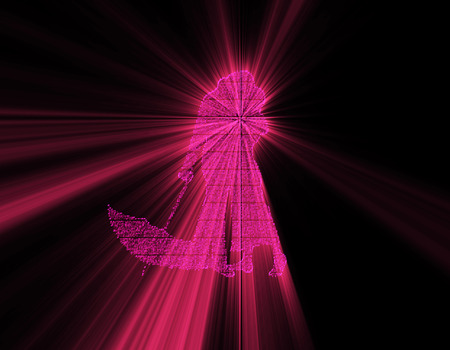 emitting: Silhouette of science and technology particles, light emitting silhouette