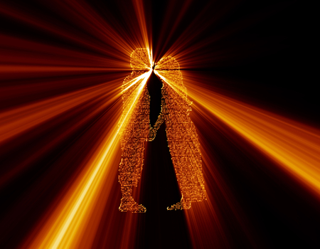 emitting: Silhouette of science and technology particles, light emitting silhouette, outline