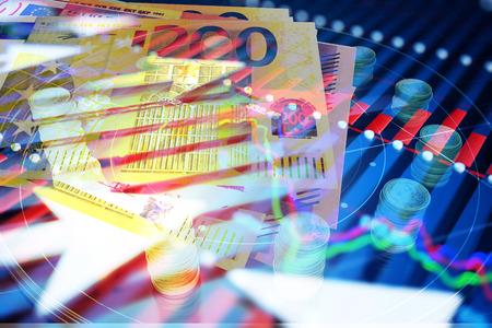 billets euros: Euro notes and stock market economic arrows