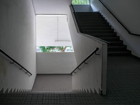 Wide angle view of an empty stairwell / staircase in an old industrial building
