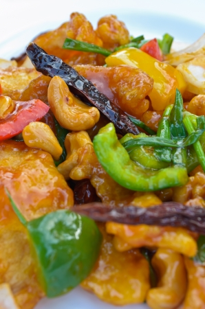 Chicken stir-fry cashew nuts pour ketchup, Thai food
