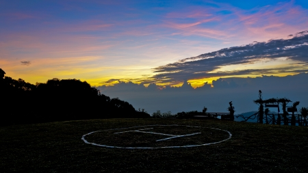 helicopter pad: Helipad on top of the mountain at sunrise  Doi Ang Khang  Chiang Mai  Thailand Stock Photo
