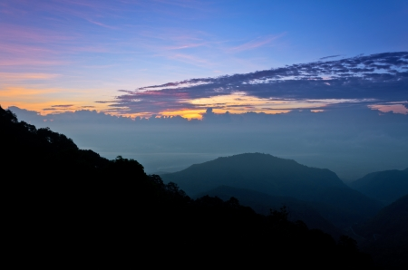 View the natural beauty of the hill at sunrise  Doi Ang Khang mountains  Chiang Mai  Thailand