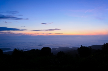 Sea of mist on sunrise  View from high mountain   Huai Nam Dang national park Thailand Stock Photo - 17316685