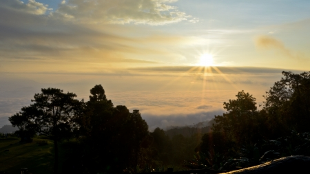Sea of mist on sunrise  View from high mountain   Huai Nam Dang national park Thailand photo