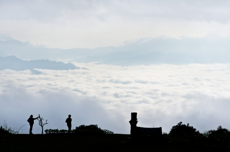 Sea of mist on sunrise  View from high mountain   Huai Nam Dang national park Thailand Stock Photo - 17315656