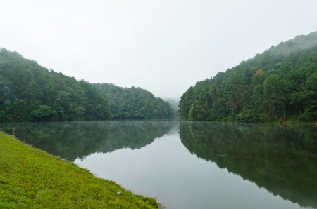 Pang Ung  Beautiful forest lake in the morning  Mae Hong Son  Thailand photo