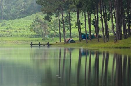 camping tent: Camping at Pang Ung  Beautiful forest lake in the morning  Mae Hong Son  Thailand