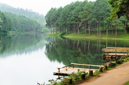 Pang Ung  Beautiful forest lake in the morning  Mae Hong Son  Thailand Stock Photo