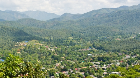 High angle view of Mae Hong Son City, northern Thailand