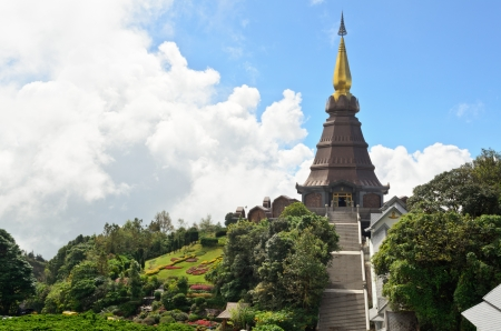 Phra Mahathat Napametanidon temple on Doi Intanon mountain, Chiang Mai, Thailand  photo