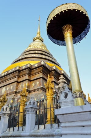 Ancient pagodas at Wat Phra That Lampang Luang temple of Lampang Province in northern Thailand photo