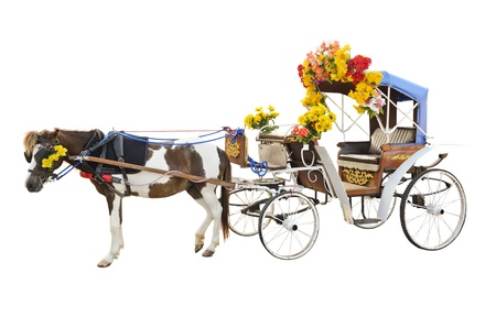 Horse carriages for tourist services in Lampang Thailand  Stock Photo