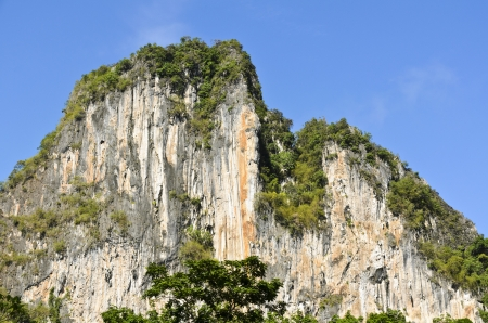 Exotic high cliffs of limestone mountain  Thailand