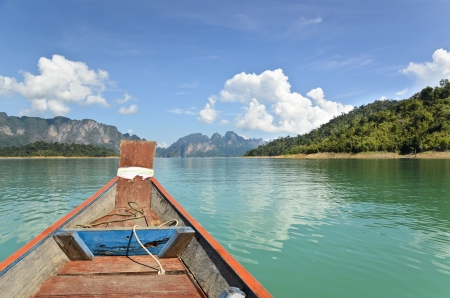 Travel by small boats, Ratchapapha dam area in Surat Thani province, Thailand