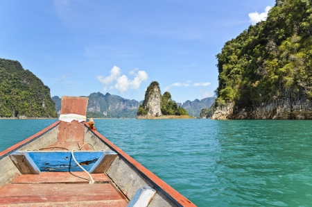 Travel by small boats, Natural attractions in Ratchapapha dam at Surat Thani province, Guilin of Thailand