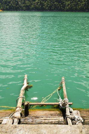 Ladder into the water part of the floating bungalows in Ratchaprapha Dam, Khao Sok National Park, Surat Thani Province, Thailand  photo