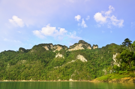 Beautiful mountains and river after rain in Ratchaprapha Dam at Khao Sok National Park, Surat Thani Province, Thailand Stock Photo - 21049893