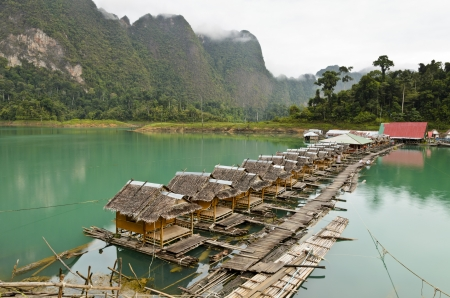 Atmosphere of the resort in the morning at Ratchaprapha Dam, Khao Sok National Park, Surat Thani Province, Thailand Stock Photo - 21557785