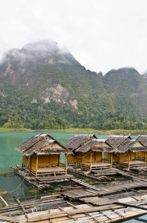 Atmosphere of the resort in the morning at Ratchaprapha Dam, Khao Sok National Park, Surat Thani Province, Thailand Stock Photo - 21557874