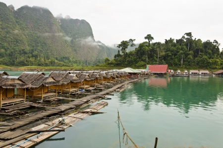 Atmosphere of the resort in the morning at Ratchaprapha Dam, Khao Sok National Park, Surat Thani Province, Thailand