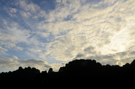 Beautiful sky and clouds over the mountains in the morning at Ratchaprapha Dam, Khao Sok National Park, Surat Thani Province, Thailand photo