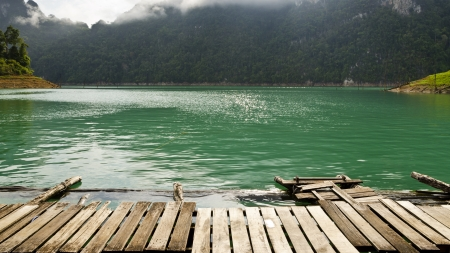 thani: Beautiful turquoise river in morning, Front view of the cottage at Ratchaprapha Dam, Khao Sok National Park, Surat Thani Province, Thailand, 19 6