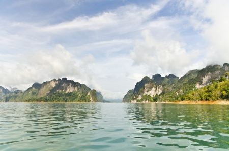thani: Beautiful high mountains and green river in the morning at Ratchaprapha Dam, Khao Sok National Park, Surat Thani Province, Thailand   Guilin of Thailand