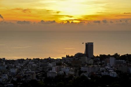 View Hua Hin city at sunrise, Beautiful scenery town seaside of Thailand  photo