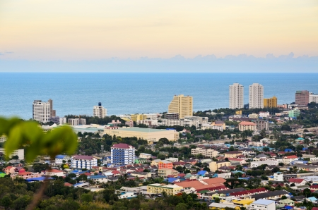 Beautiful high angle view Hua Hin city in the evening, Beautiful scenery town seaside of Thailand  photo