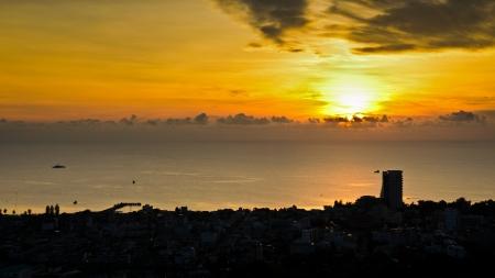 Landscape Hua Hin city at sunrise, Beautiful scenery town seaside of Thailand, 16 9 photo