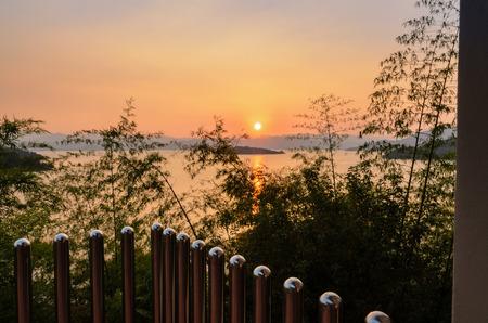 chan: High angle view beautiful lake at sunset from resort in Kaeng Kra Chan National Park, Phetchaburi Province, Thailand