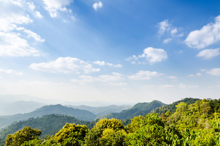 High angle view blue sky over mountain from Panoen Thung scenic point at Kaeng Krachan National Park Phetchaburi province in Thailand photo