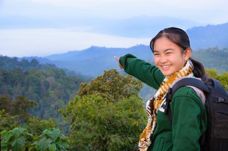 kaeng: Tourist girl on the mountain in the morning at Panoen Thung scenic point Kaeng Krachan National Park Phetchaburi province Thailand