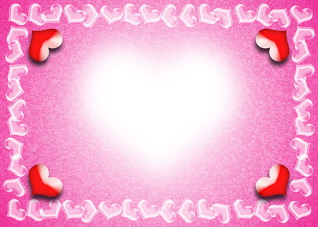 Valentine Day card, Heart frame on pink and white background, Indication of the bright beauty of love. photo