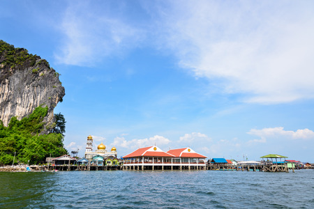 phang nga: Beautiful landscape sea and blue sky in summer at Punyi Island or Koh Panyee is fisherman village cultural attractions travel by boat in Phang Nga Bay or Ao Phang Nga National Park Thailand