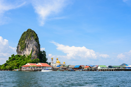 panyi: Beautiful landscape sea and blue sky in summer at Punyi Island or Koh Panyee is fisherman village cultural attractions travel by boat in Phang Nga Bay or Ao Phang Nga National Park Thailand