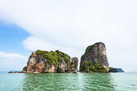 james: Beautiful landscape sea and sky in summer at Khao Tapu or James Bond Island in Ao Phang Nga Bay National Park Thailand