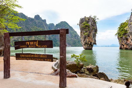 james: Nameplate attractions viewpoint at beach seaside of Khao Tapu or James Bond Island in Ao Phang Nga Bay National Park Thailand