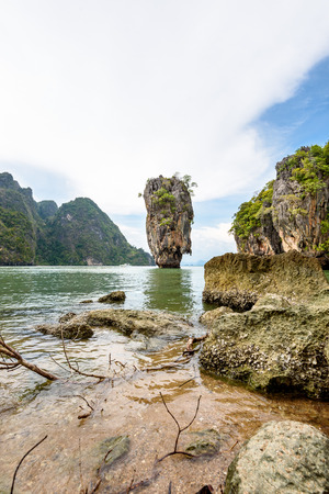 james: Beautifully landscaped at view point beach and sea in summer of Khao Tapu or James Bond Island in Ao Phang Nga Bay National Park Thailand